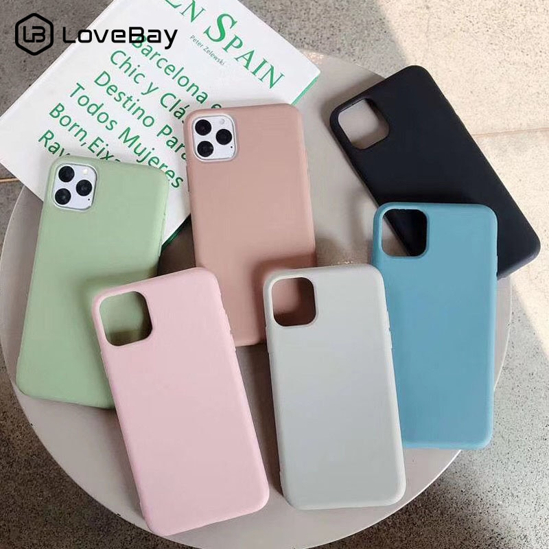Lovebay Candy Color Silicone For iPhone 11 Case For iPhone 7 8 6 6s Plus 11 Pro X XR XS Max Phone Case Plain Soft TPU Back Cover