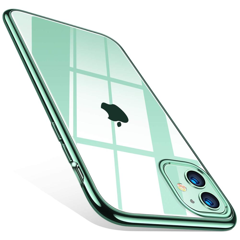 Silicone Case For iPhone 11 Transparent Soft TPU Ultra Thin Phone Case Cover for iPhone 11 Por Max 11Pro Midnight Green Coqu