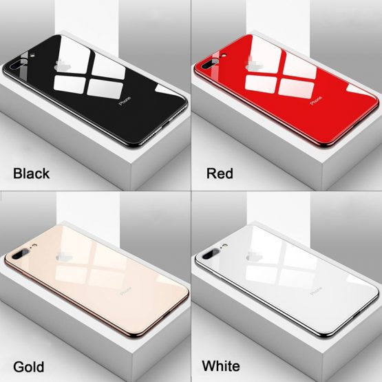 Fashion Ultra-Thin Slim Electroplated Tempered Mirror Glass Phone Case For iPhone 11 XR XS Max 6S 7 8 Plus fundas coque