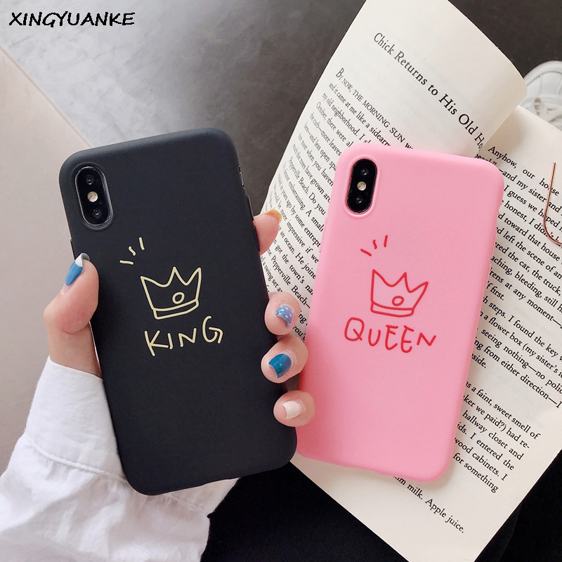 Silicone Soft Case For iphone 7 6 6S 5 5S 8 Plus Case For iphone 11 Pro X XR XS MAX Case Cute Letter KING QUEEN Crown Cover