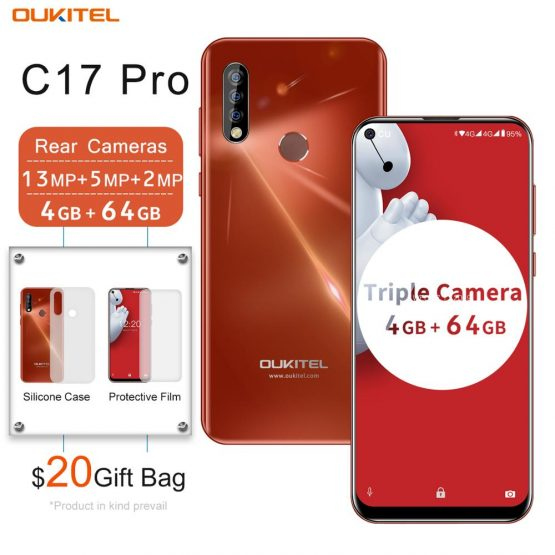 OUKITEL C17 Pro 6.35'' Android 9.0 4GB 64GB Smartphone 19:9 Dual 4G Band Mobile Phone Fingerprint Face ID Octa Core 3900mAh