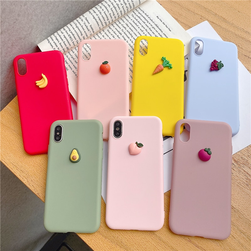 Silicone Phone Case For iphone X XR XS 11 Pro MAX 6S 7 8 Plus For Samsung S10 S9 S8 Note 10 9 8 Soft Cover Cute 3D fruit