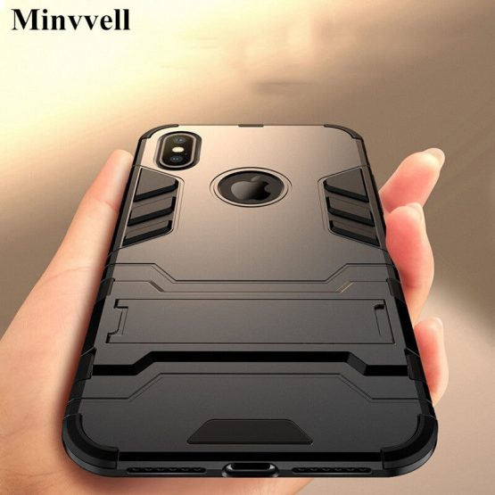 Luxury Stand Armor Phone Holder Case For iPhone 78 6 6S Plus X XS XS max Hybrid TPU+Hard PC ShockProof Cover for iphone 5 5S SE