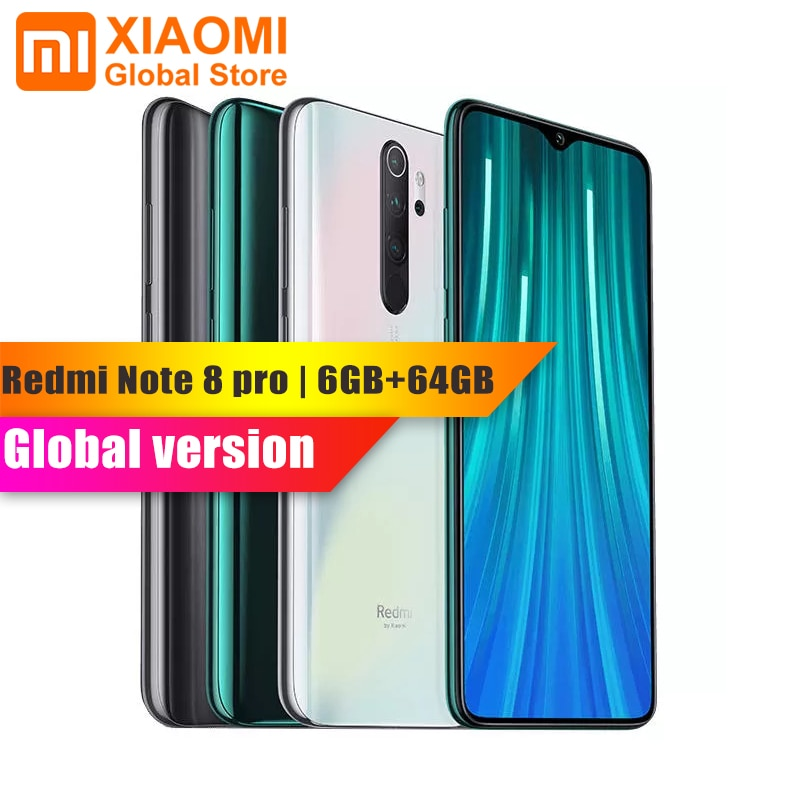 Global Version Xiaomi Note 8 Pro 6GB RAM 64GB ROM Mobile Phone Helio G90T Quick Charge 4500mAh Battery 64MP Cam NFC SmartPhone