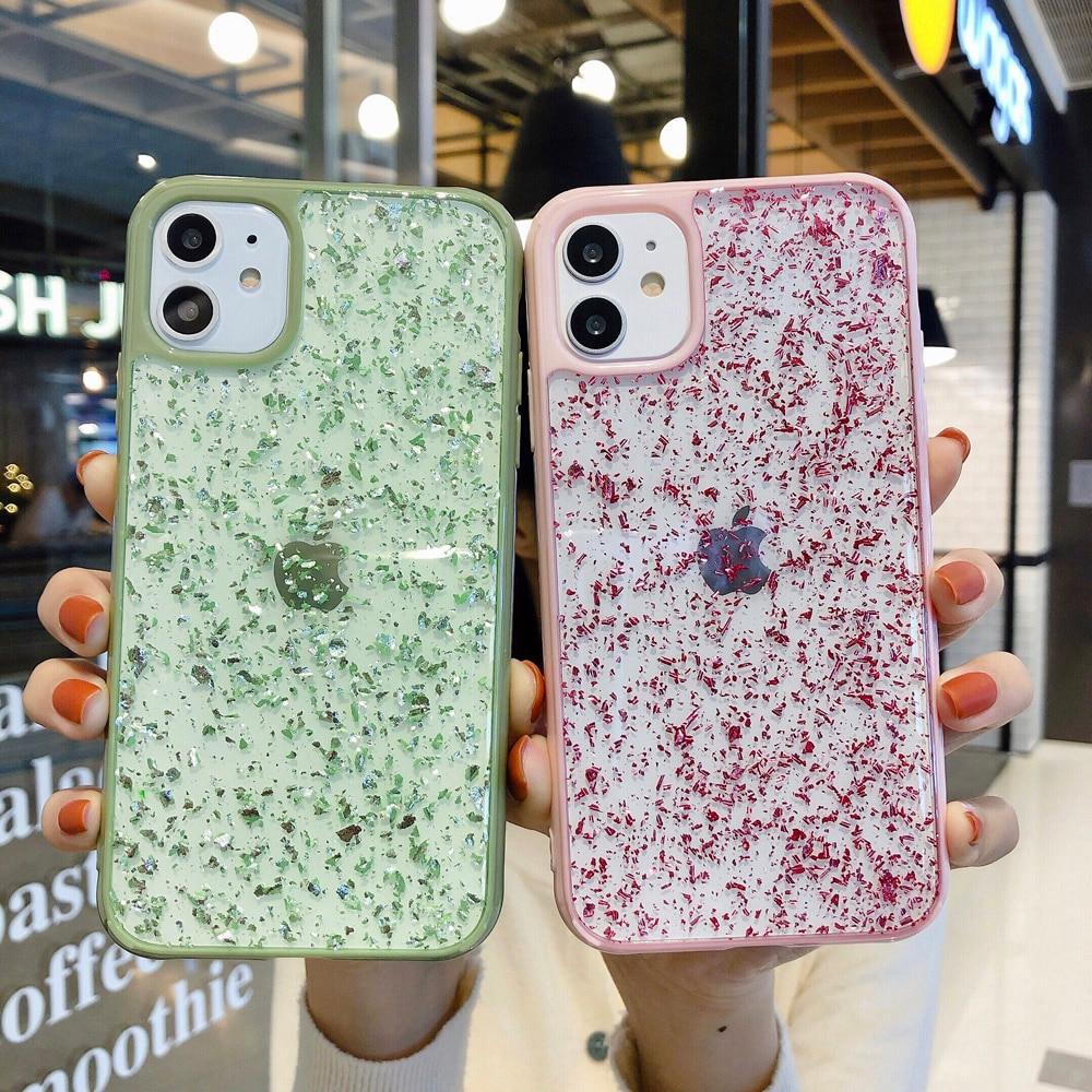 Glitter Sparkle Gold Foil Sequins Phone Case For iPhone 11 Pro X XR XS Max 6 6s 7 8 Plus Transparent Soft Silicone TPU Back Case