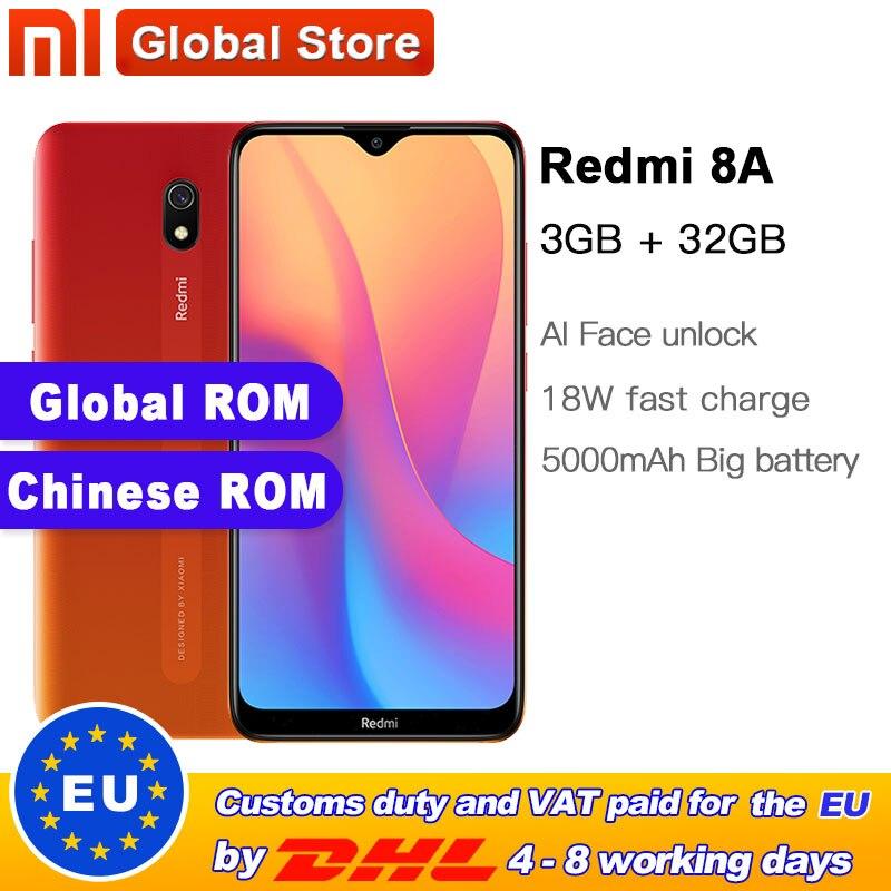Global ROM Xiaomi Redmi 8A 32GB 3GB Smartphone Snapdargon 439 Octa core 5000mAh 12MP AI Camera Type-C