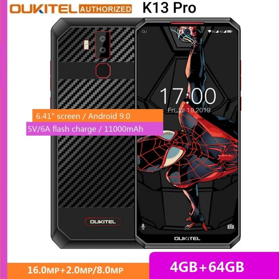 OUKITEL K13 Pro Android 9.0 6.41 inch 19.5:9 4GB 64GB 720*1560 Smartphone 11000mAh Fingerprint 5V/6A OTA Mobile Phone