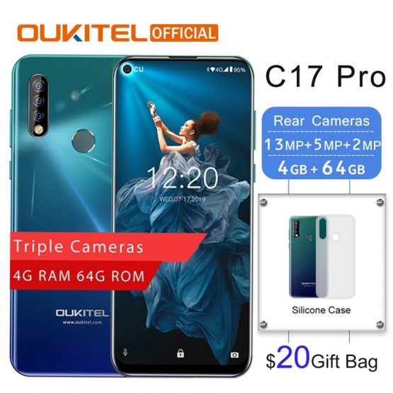 "OUKITEL C17 Pro 6.35""19.5:9 Android 9.0 4G RAM 64G ROM MTK6763 Octa Core Mobile Phone Rear Triple Cameras Dual 4G LTE Smartphone"