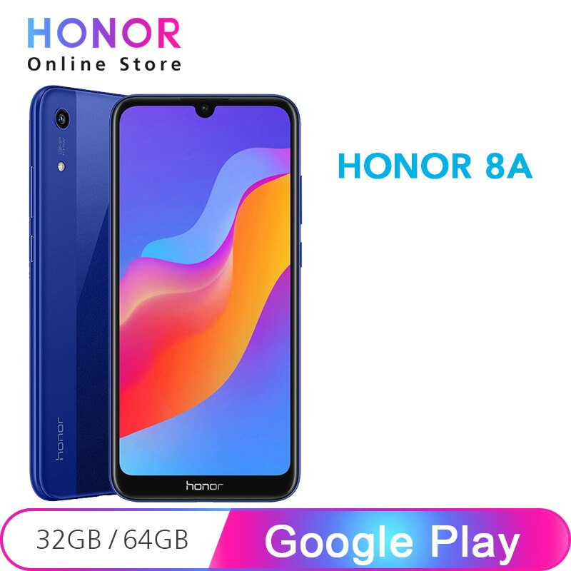 """Honor 8A 32GB 8 A Smartphone 6.09"""" Dewdrop Display MT6765 Octa Core Google Play Android 9 Face ID 13MP Camera"""