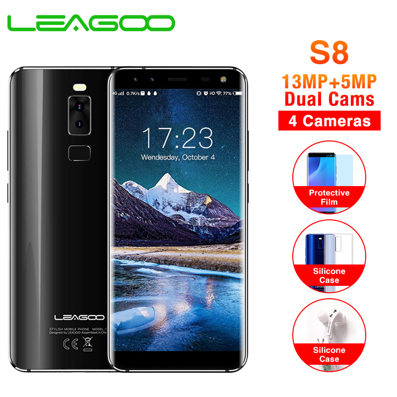 LEAGOO S8 5.72 full screen Mobile Phone Android 7.0 MTK6750T Octa Core 3GB+32GB 13MP 4 Cameras Fingerprint ID 4G Smartphone