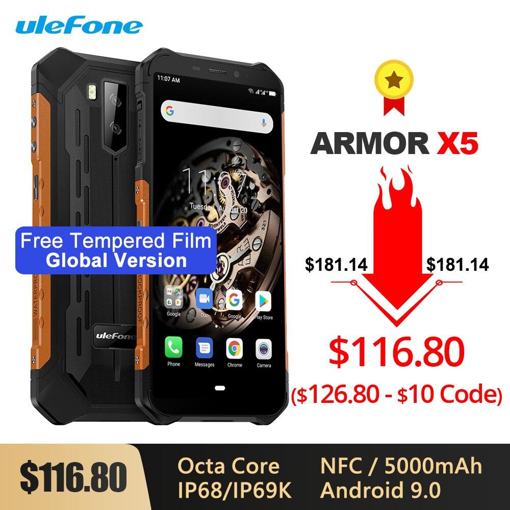 Ulefone Armor X5 IP68/IP69K Rugged Shockproof Smartphone 5000mAh Octa Core 5.5'' Android 9.0 OTG NFC 3GB 32GB 4G LTE Cellphone