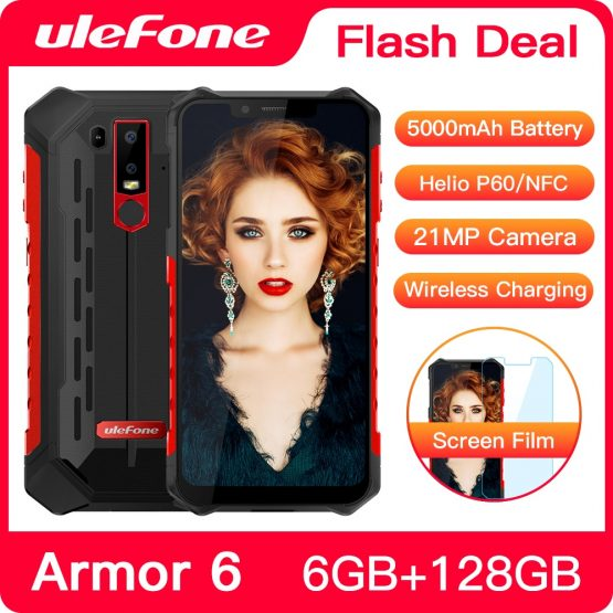 Ulefone Armor 6 Waterproof Mobile Phone Android 8.1 Helio P60 Octa Core 6GB 128GB Face ID NFC IP68 Rugged Smartphone