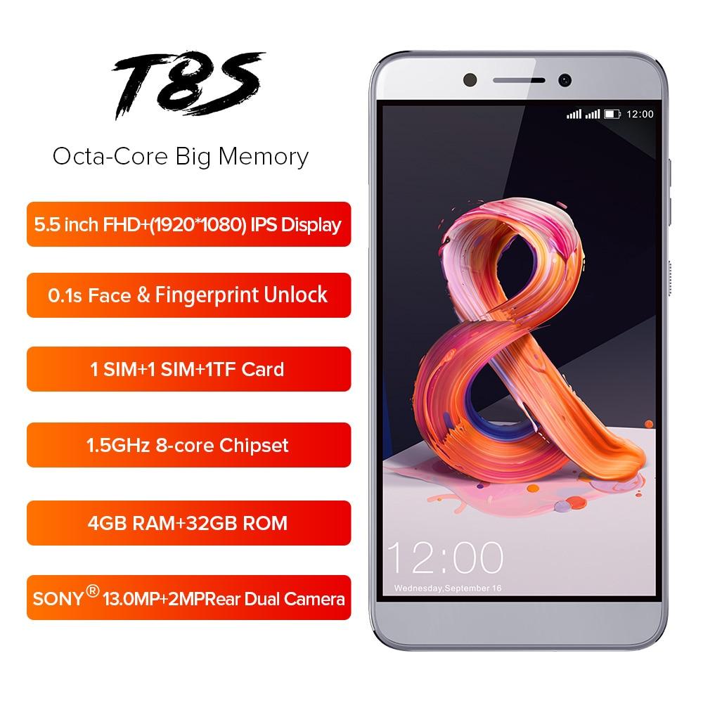 LEAGOO T8s Mobile Phone 5.5'' FHD 16:9 1920*1080 RAM 4GB ROM 32GB Android 8.1 MT6750T Octa Core Face ID 13MP 4G Smartphone OTG