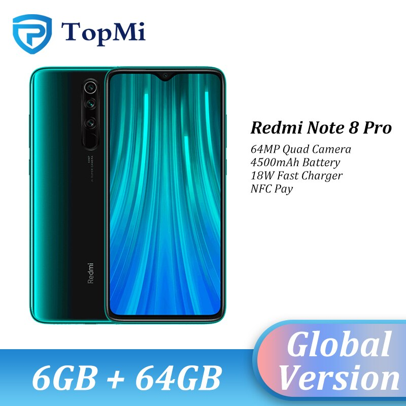 "Original Global Version Xiaomi Redmi Note 8 Pro 6GB 64GB Smartphone 64MP Quad Camera 6.53"" Screen MTK Helio G90T NFC Cellphone"