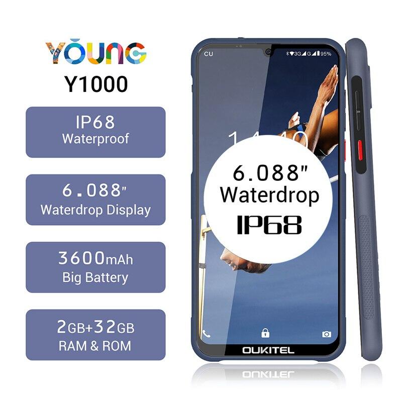 "OUKITEL Y1000 Rugged Smartphone 2GB RAM 32GB ROM 6.088"" Android 9.0 IP68 Waterdrop MT6580P 3600mAh Fingerprint Mobile Phone"