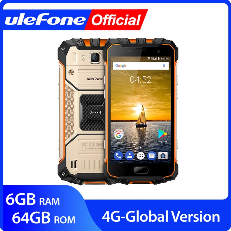 """Ulefone Armor 2 IP68 Waterproof Mobile Phone Android 7.0 5.0"""" FHD MTK6757 Octa Core 6GB+64GB 16MP Global Version 4G Smartphone"""