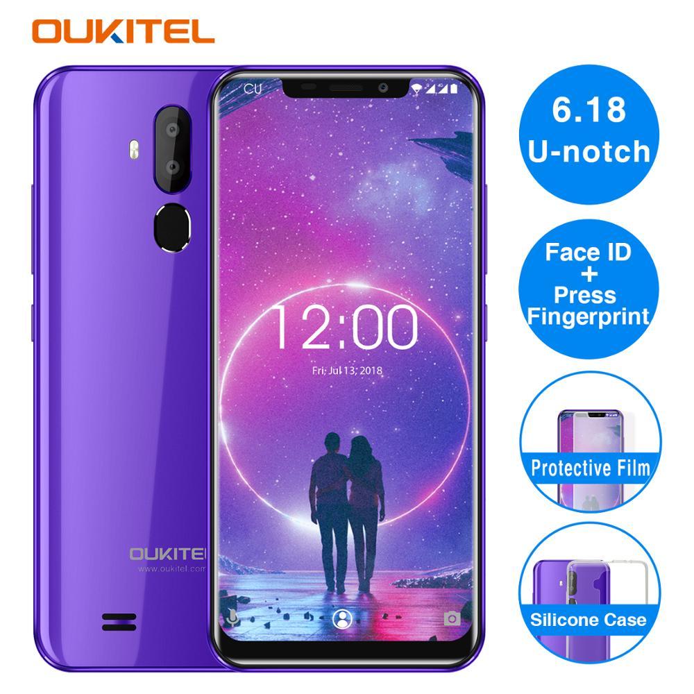 Oukitel C12 3G Smartphone 6.18'' Android 8.1 MT6580 Quad Core 2GB RAM 16GB ROM 2.0MP Front Camera Fingerprint 3300mAh Cellphones