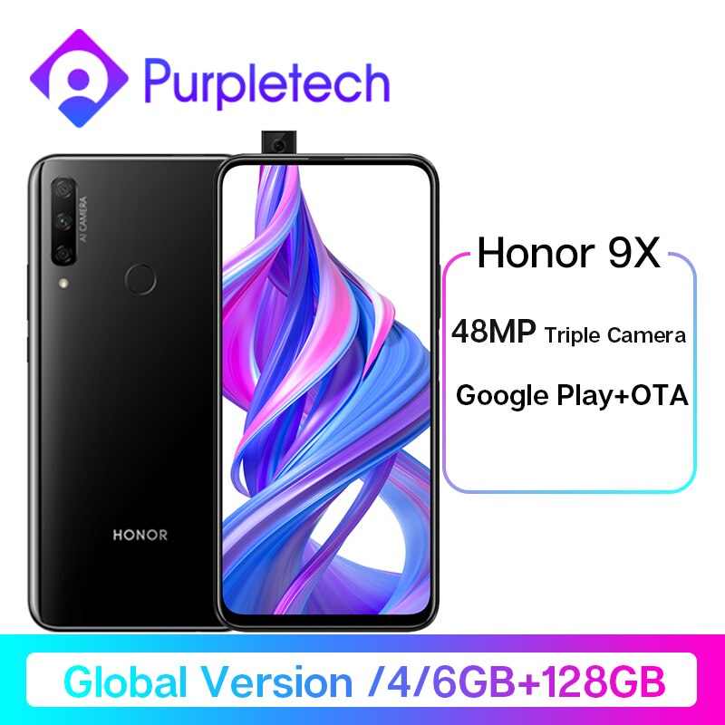 Global Version Honor 9X Smartphone 48MP Triples Camera Not 9Pro 6.59'' Mobile Phone Android 9 4000mAh Google Play