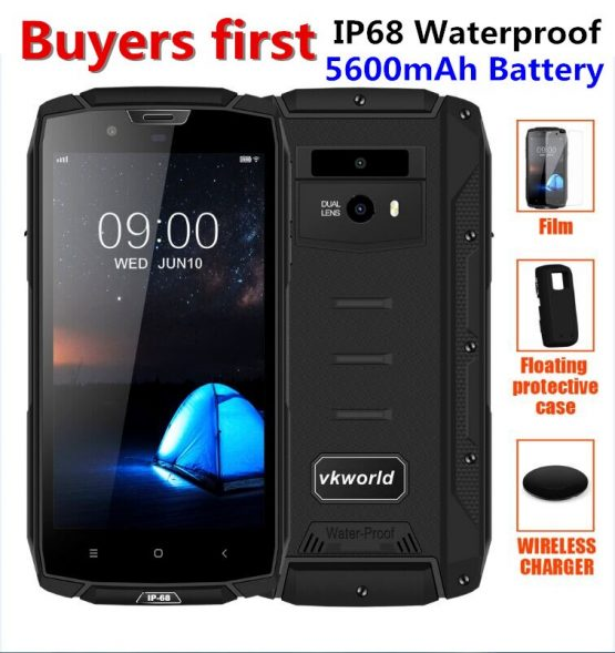 "vkworld VK7000 IP68 Waterproof Smartphone 5.2"" MTK6750T Octa Core Android 8.0 5600mAh 4GB RAM 64GB ROM 13mp Face ID mobile phone"