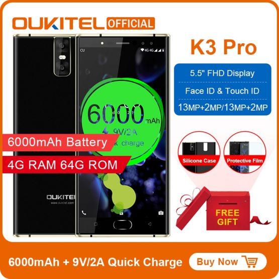 "Oukitel K3 Pro Mobile Phone MT6763 Octa Core 4GB 64GB 5.5""Dual 2.5D Screen 6000mAh 4 Cameras 13MP+2MP 9V/2A Face ID Smartphone"