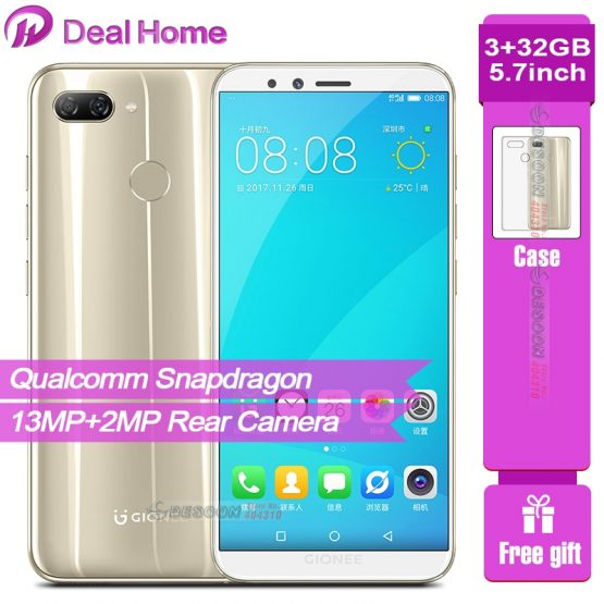 """Global Gionee F6 Mobile Phone 5.7"""" Snapdragon8937 Octa Core 3GB 32GB 2970mAh Android 7.1 13MP+2MP Cameras 4G LTE Smartphone"""