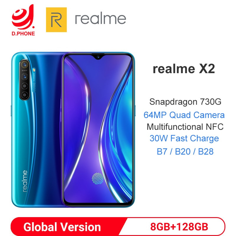 """Global Version realme X2 8GB 128GB NFC 6.4"""" Mobile Phone Snapdragon 730G 64MP Quad Camera Cellphone 30W Fast Charge Smartphone"""