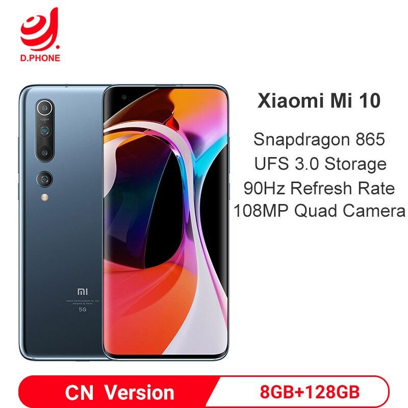 "Xiaomi Mi 10 8GB 128GB Snapdragon 865 Octa Core Smartphone 5G Mobile Phone 108MP Quad Camera 6.67"" AMOLED Screen 4780mAh Battery"