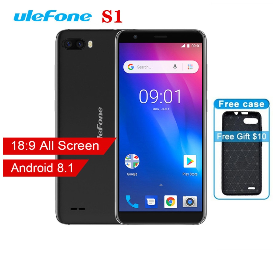 Ulefone S1 Mobile Phone Android 8.1 5.5 inch 18:9 MTK6580 Quad Core 1GB RAM 8GB ROM 8MP+5MP Rear Dual Camera 3G Smartphone