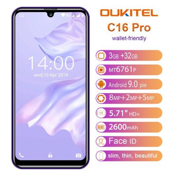 "OUKITEL C16 Pro Smartphone 3GB 32GB MTK6761P Quad Core 5.71"" Waterdrop Screen 19:9 Fingerprint LTE 2600mAh Face ID Mobile"