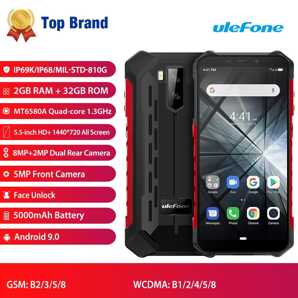 Ulefone Armor X3 Rugged phones Android 9.0 IP68/IP69K Waterproof 2GB 32GB MT6580 5.5 inch HD+ 8MP 5000mAh face ID 3G Smartphone