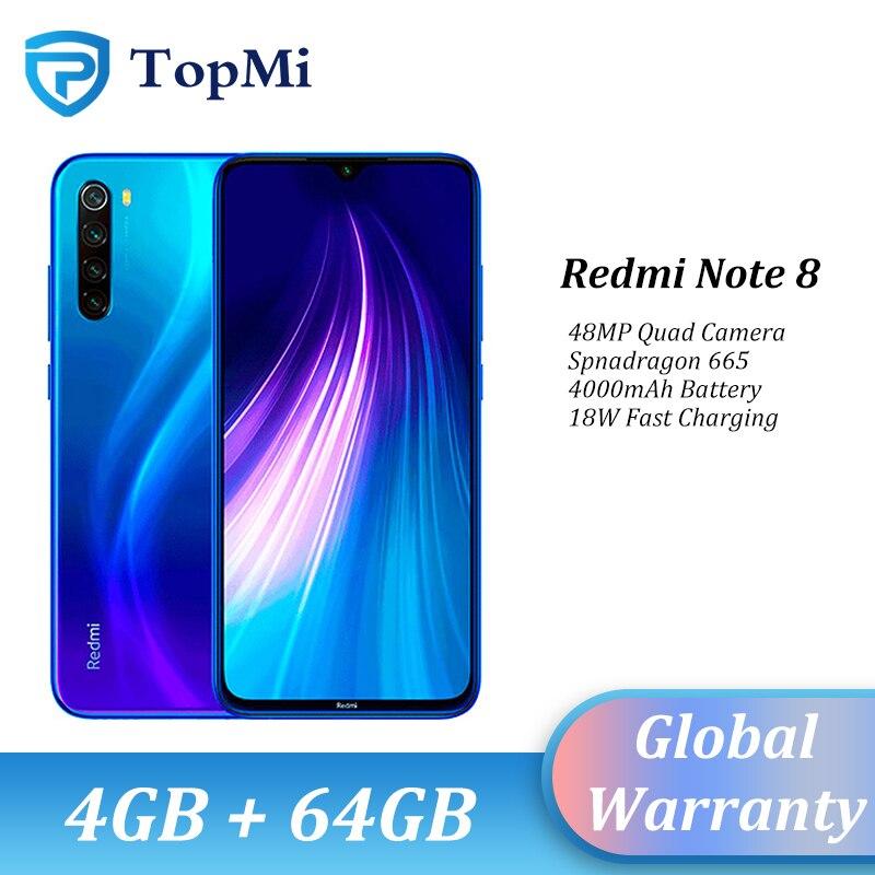 "In stock!Global ROM Xiaomi Redmi Note 8 4GB RAM 64GB ROM Smartphone 48MP Quad Camera Snapdragon 665 6.3"" FHD+ Cellphone"