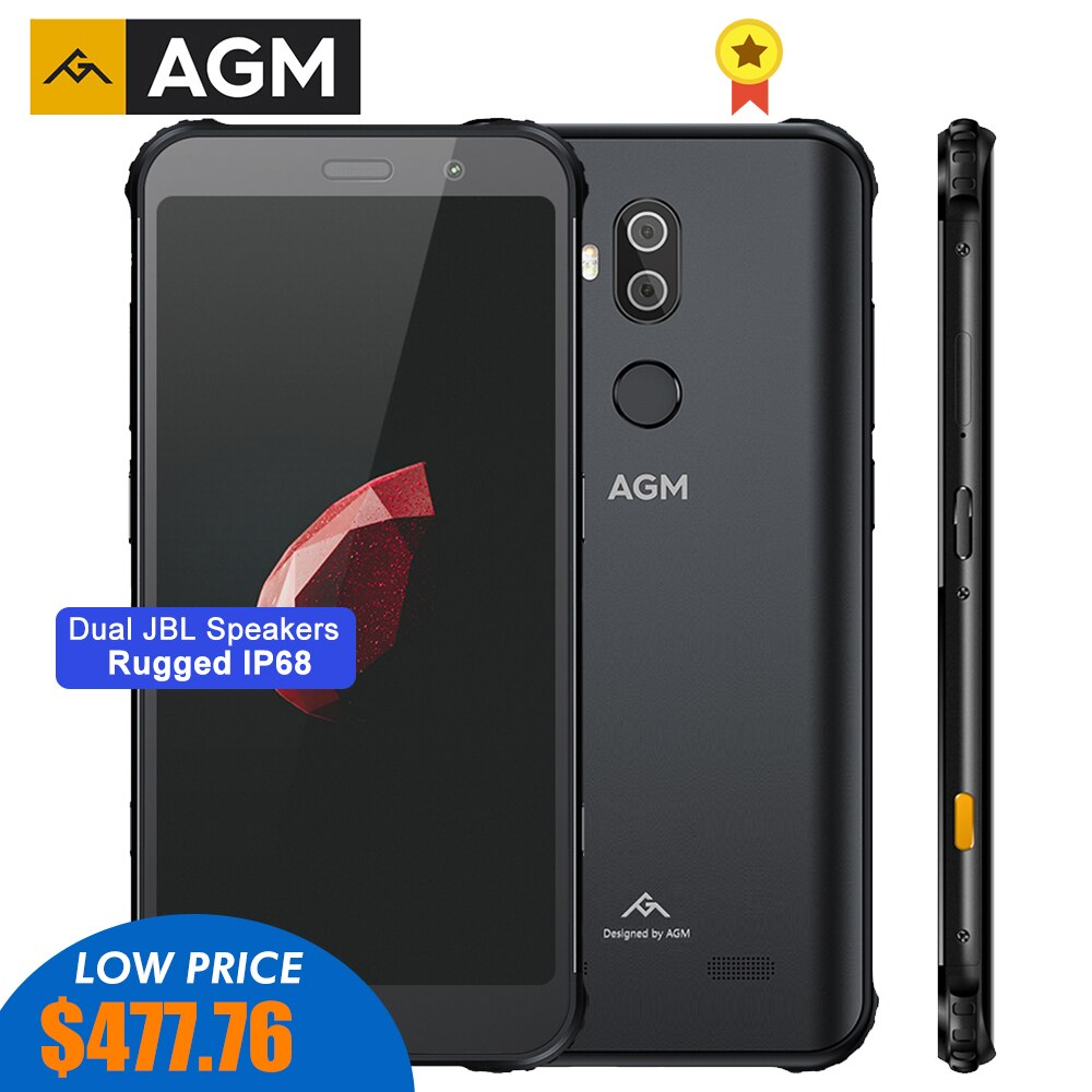 AGM X3 MIL-STD-810G Rugged Waterproof Smartphone SDM845 8GB 256GB Android 8.1 Octa 5.99'' 24MP Camera Dual BOX Speaker QC3.0 NFC
