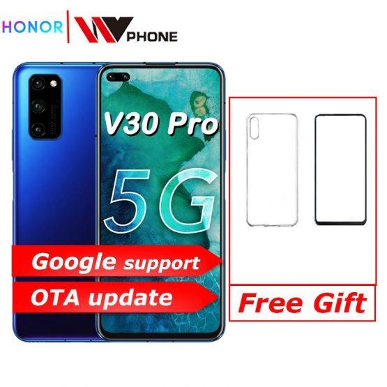 Original Honor V30 Pro Kirin990 Octa core 5G Smartphone 6GB 8GB 128GB 40mp Triple Camera 40W SuperCharge Phone NFC Google play