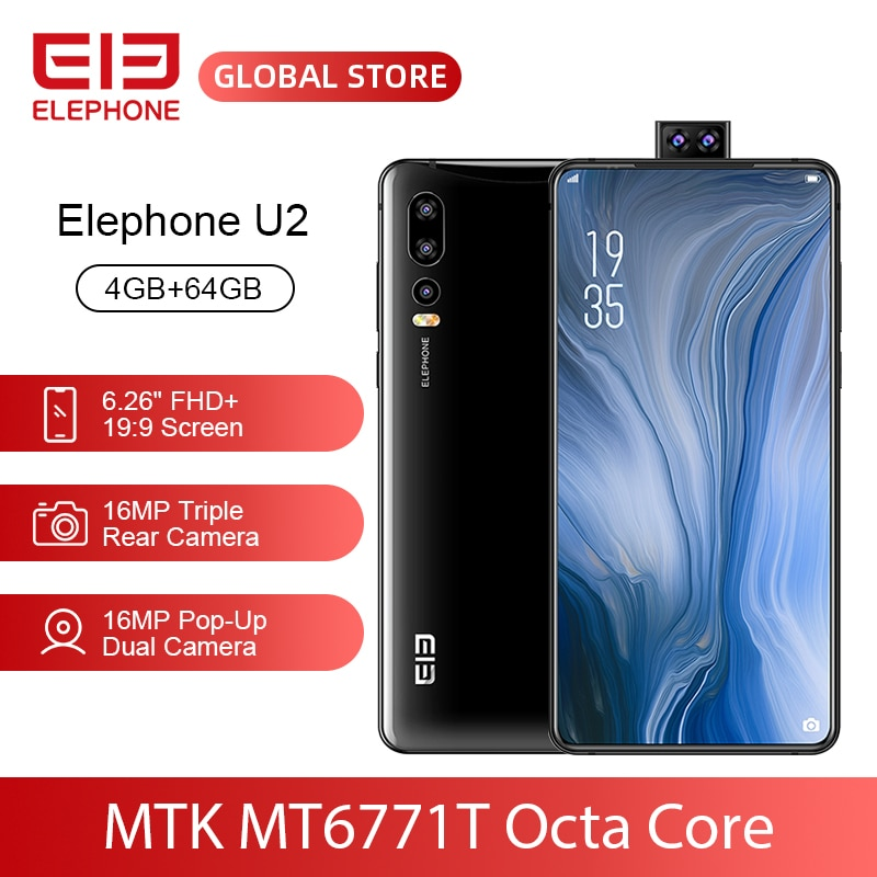 """ELEPHONE U2 MT6771T Octa Core 4GB 64GB Mobile Phone 16MP Pop-Up Dual Cam 6.26"""" FHD+ Screen Face ID 4G LTE Android 9 Smartphone"""