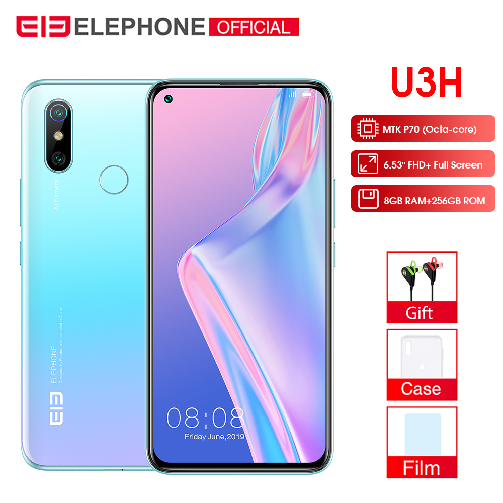"ELEPHONE U3H 8GB+256GB Android 10 Helio P70 Octa Core 6.53"" FHD+ Fullview Display 24MP Selfie 48MP AI Dual Camera Smartphone"