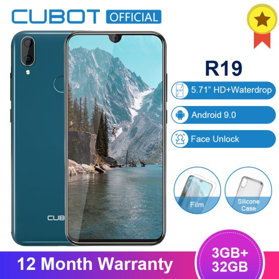 Cubot R19 Android 9.0 19:9 3GB 32GB Quad Core Fingerprint Smartphone 5.71''Water Drop Screen Dual Back Cams Face ID Mobile Phone