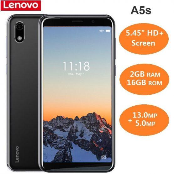 Lenovo A5s 4G Smartphone 5.45 inch Android P MT6761 Quad Core 2.0GHz 2GB RAM 16GB ROM 13.0MP Rear Camera 3000mAh Battery