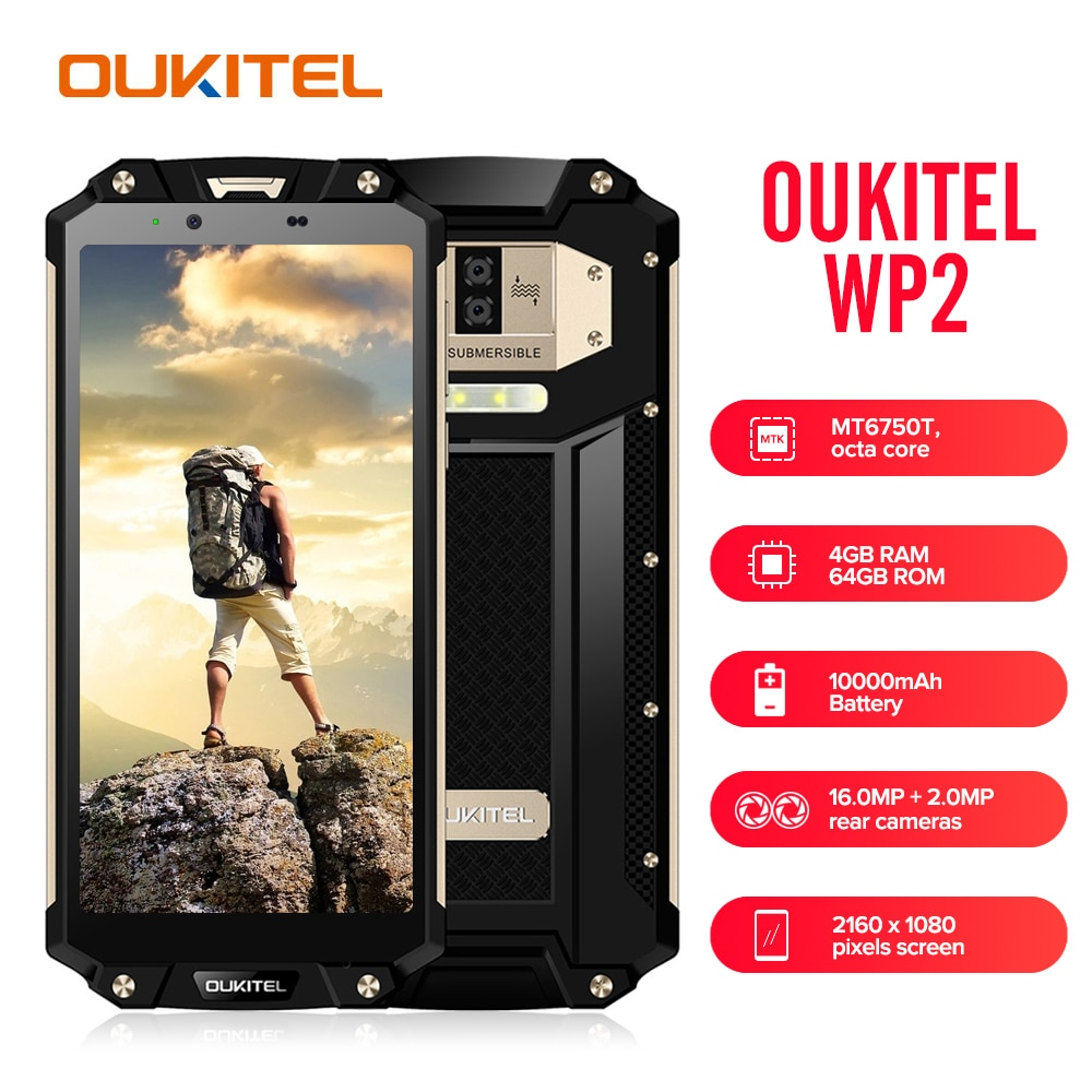 "OUKITEL WP2 IP68 Waterproof Mobile Phone 4GB 64GB MT6750T Octa Core 6.0"" 18:9 Fingerprint Smartphone Dust Shock Proof 10000mAh"
