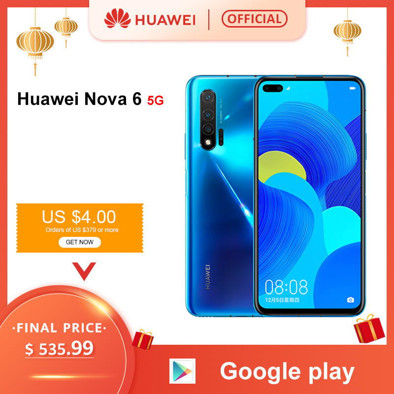 Original Huawei Nova 6 5G Smartphone 40MP AI Cameras 32MP Front Camera 6.57'' Full Screen Kirin 990 Android 10