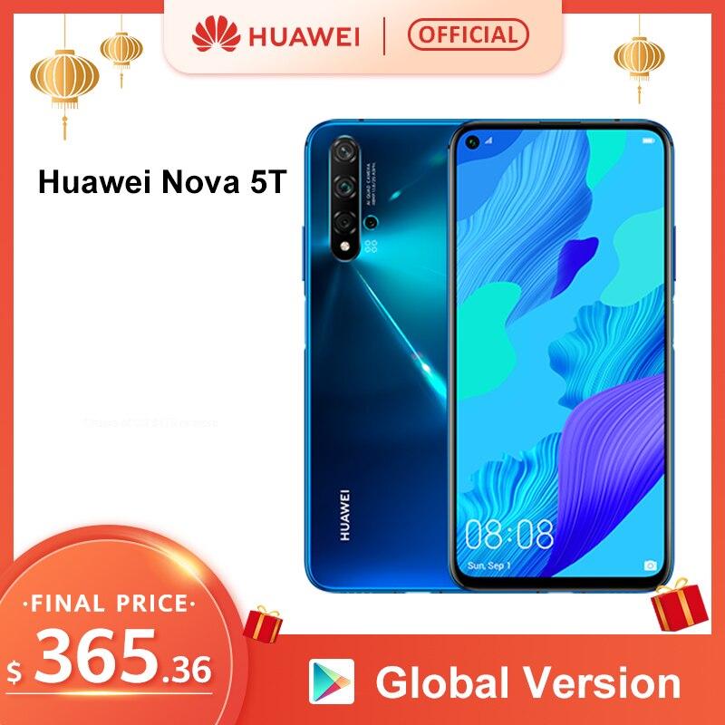 Global Version Huawei Nova 5T 5 T 8GB 128GB Smartphone 48MP Cameras 32MP Front Camera 6.26'' Full Screen Kirin 980 Android 9