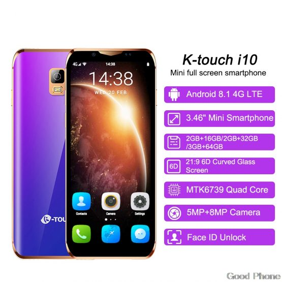 K-Touch I10 Face ID 4G Lte Mini Smartphone Android 8.1 Google Play Mobile Phones MTK6580 Quad Core Smart Phone