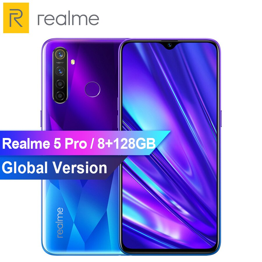 REALME 5 pro 6.3'' 8G 128GB Smartphone Android P Octa-core 4035mAh 48+16MP Dual Camera VOOC Fast Charge 3.0 Mobile Phone
