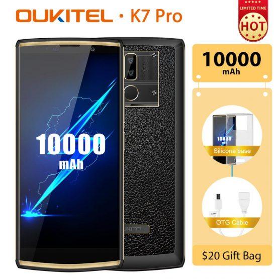 "OUKITEL K7 Pro Android 9.0 Smartphone 10000mAh Fingerprint 9V/2A Mobile Phone MT6763 Octa Core 4G RAM 64G ROM 6.0"" FHD+ 18:9"
