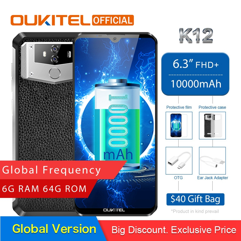 "OUKITEL K12 Android 9.0 Mobile Phone 6.3"" 19.5:9 MTK6765 6G RAM 64G ROM NFC 10000mAh 5V/6A Quick Charge Fingerprint Smartphone"