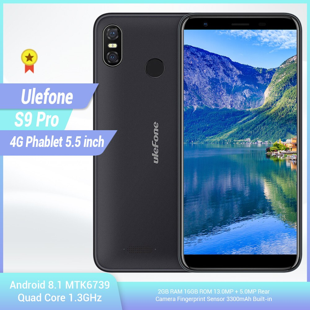 Ulefone S9 Pro 4G Smartphone 5.5 inch Android 8.1 MTK6739 Quad Core 1.3GHz 2GB RAM 16GB ROM 13.0MP + 5.0MP Mobile Telephone