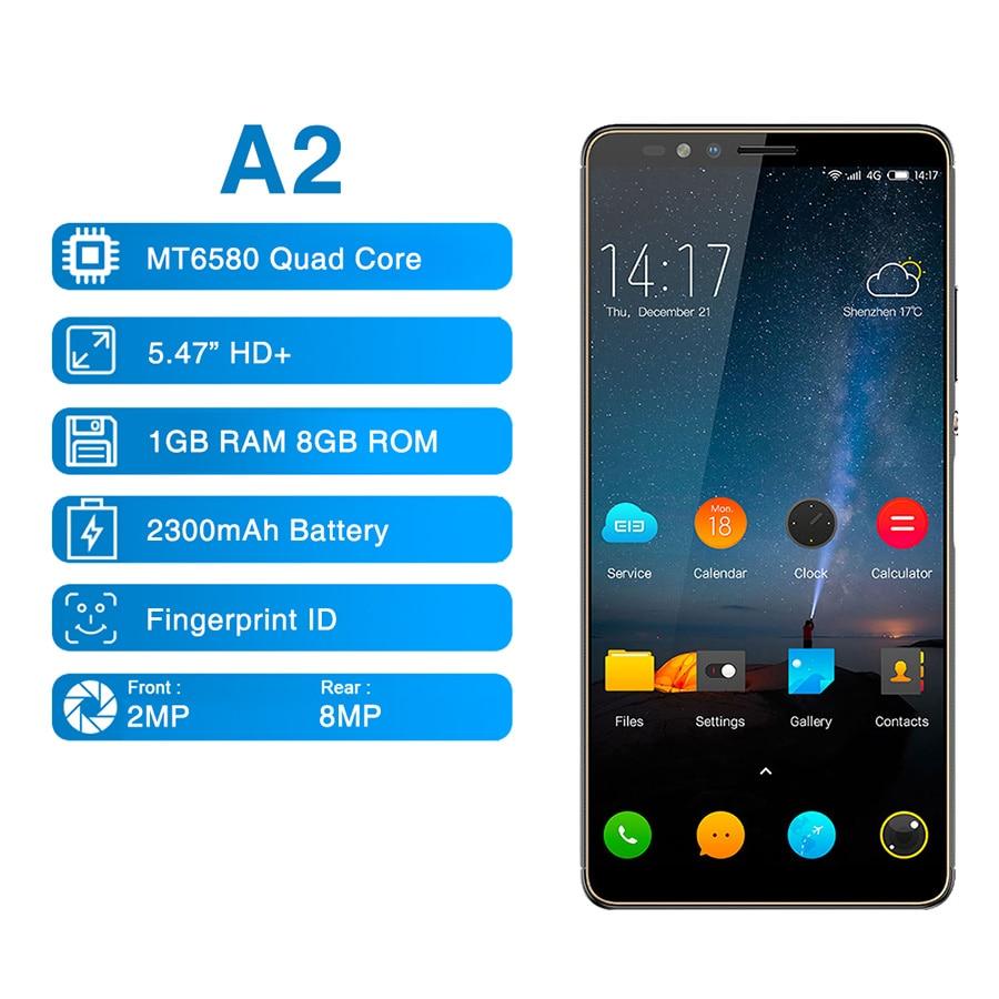 "Elephone A2 5.47"" 18: 9 Mobile Phone Android 8.1 MT6580 Quad Core HD+ 1GB 8GB 8MP+2MP Fingerprints ID Smartphone"