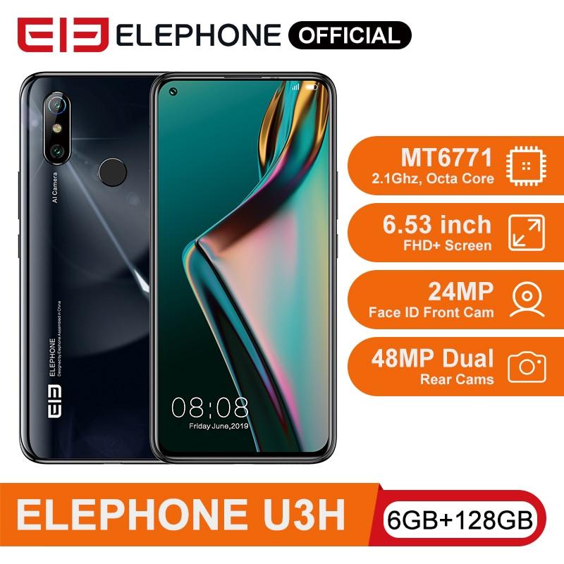 "ELEPHONE U3H Helio P70 Octa Core Smartphone 6GB 128GB 6.53"" FHD+ Screen 48MP Dual Rear Cam 24MP Selfie Face Unlock Android 10"