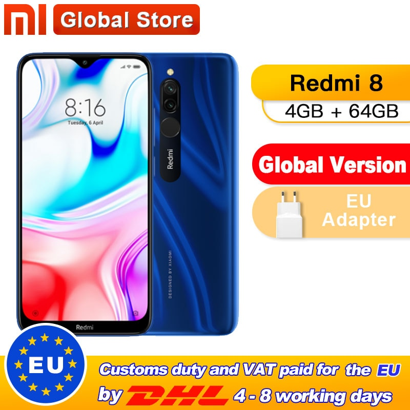 Global Version Xiaomi Redmi 8 4GB 64GB Octa-core Snapdragon 439 processor 12 MP dual camera Smartphone 5000 mAh Redmi 8