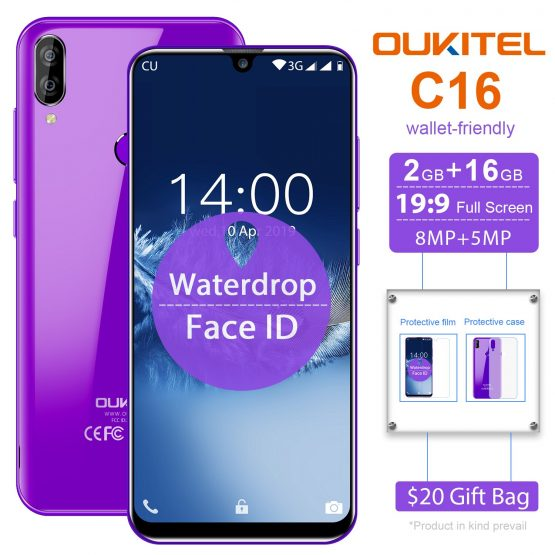 OUKITEL C16 5.71'' Android 9.0 19:9 MT6580P 2GB 16GB Smartphone Fingerprint Face ID Waterdrop Screen 5V/1A 2600mAh Mobile Phone