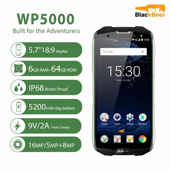 """OUKITEL WP5000 Android 7.1 Mobile Phone IP68 Waterproof Octa Core 5.7"""" 18:9 Smartphone 64GB 9V/2A Fast Charge 5200mAh Cellphone"""